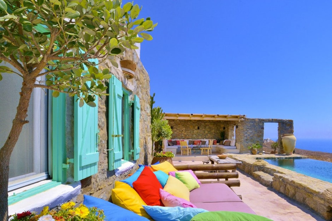 kids love greece cyclades accommodation for families the Drakothea family residence in Myconos island luxury villa