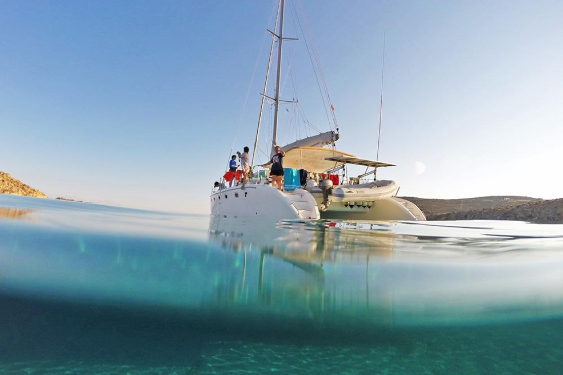 mykonos catamaran sailing family