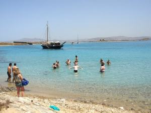 private family sailing trip from Mykonos Cyclades Ornos Psarou Super Paradise south beaches Platys Gyalos Elia kids love greece activities for families