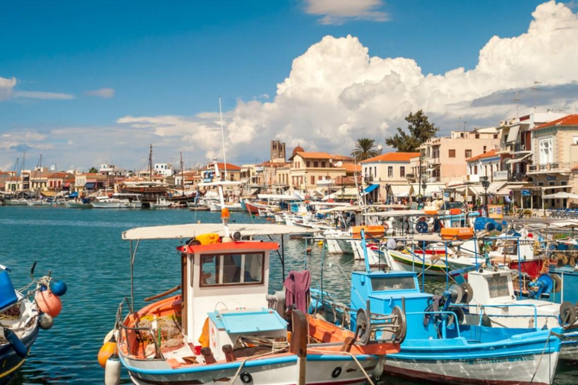 Aegina port boats