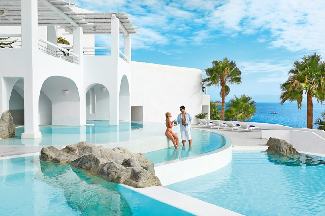 The Mykonos Blu Grecotel Exclusive Resort families Hotel best accommodation luxury high standards Cyclades Greece kidslovegreece Psarou private beach greek islands