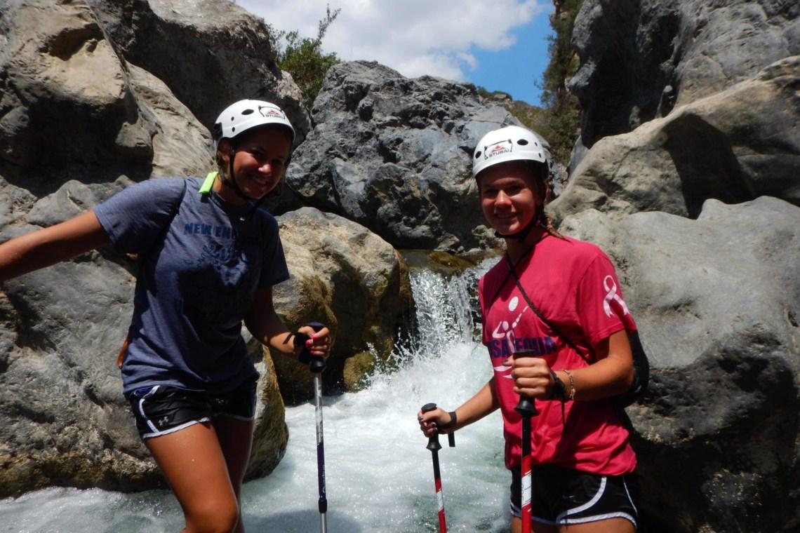 kids love greece river trekking outdoor family adventure Rethymno Crete activities