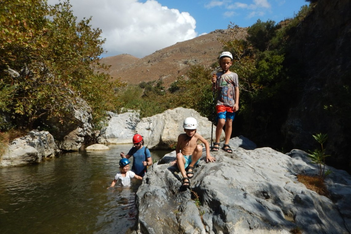 river trekking outdoor family adventure activities Crete kids love greece Rethymno