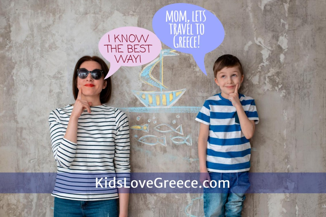 mother son travel to Greece