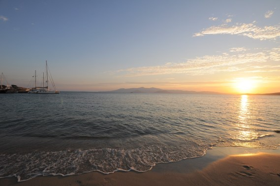 Naxos beach and sunset