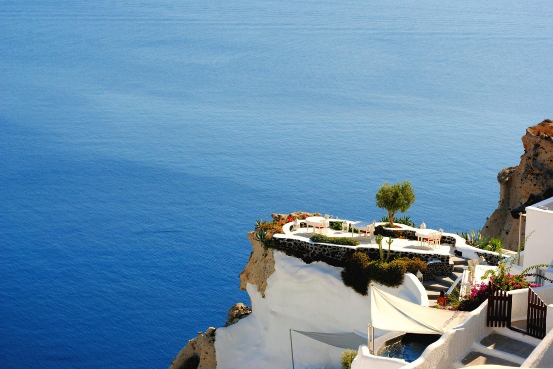 Santorini caldera sea view Greece