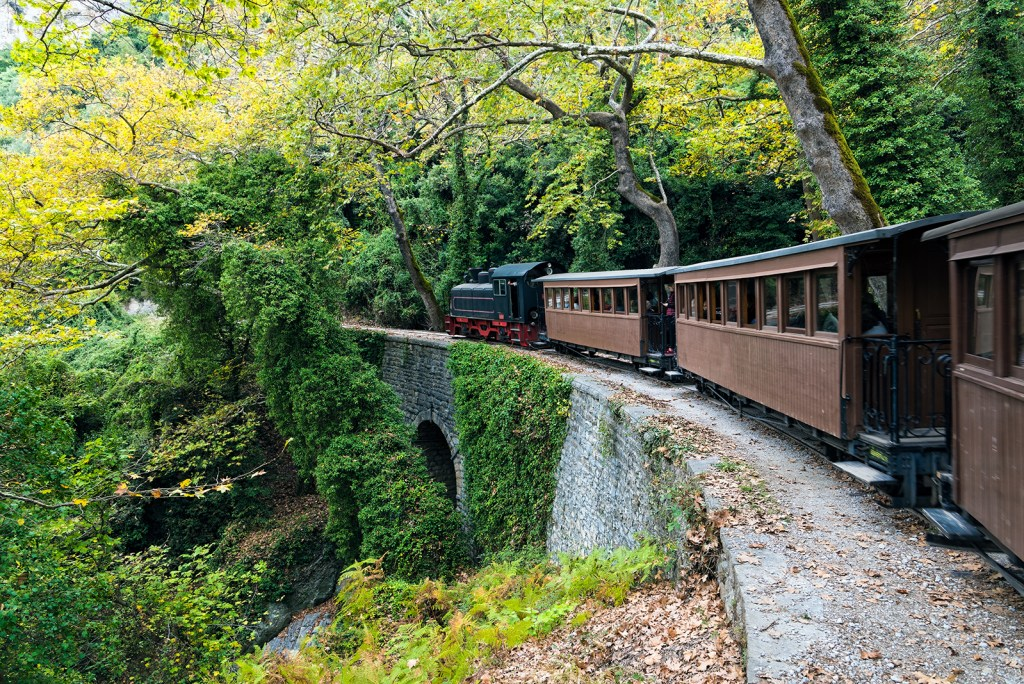 train-climbing-Pelion-mountain-in-forest-SHThings to do in Pelion for families
