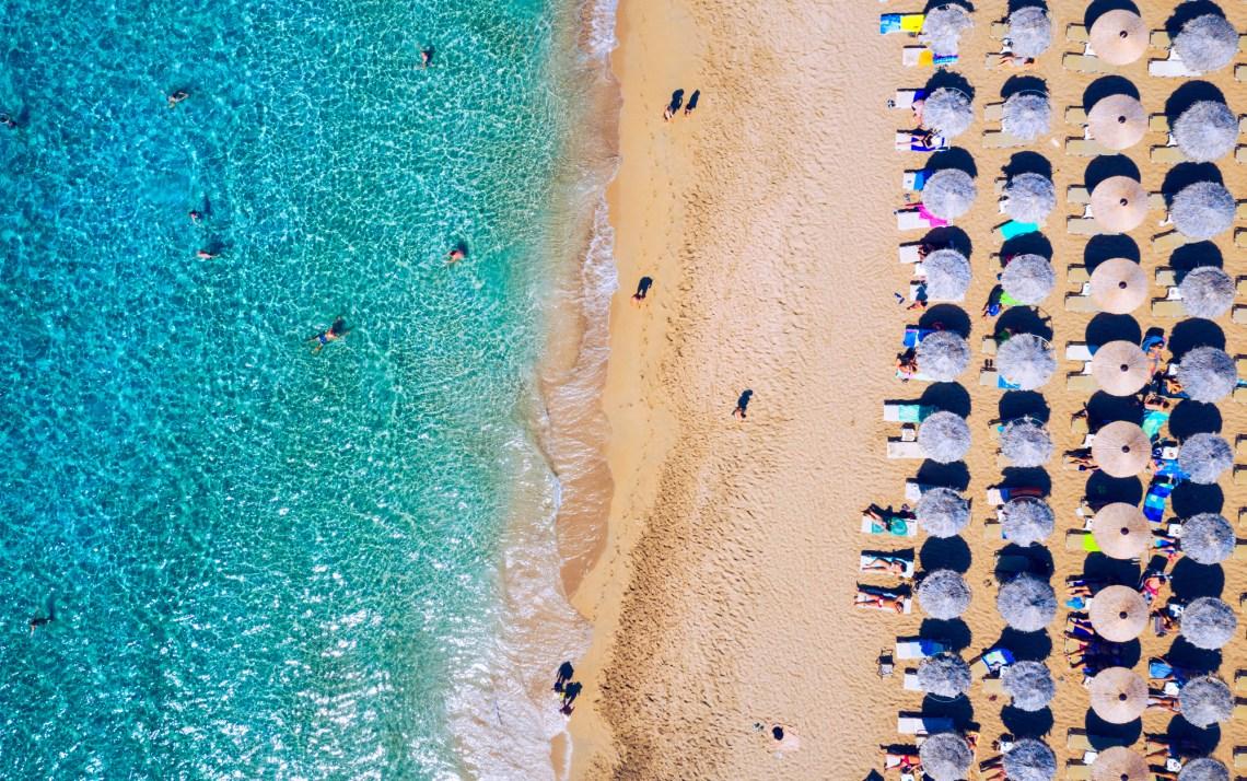 Aerial shot of beautiful turquoise beach Falasarna (Falassarna)