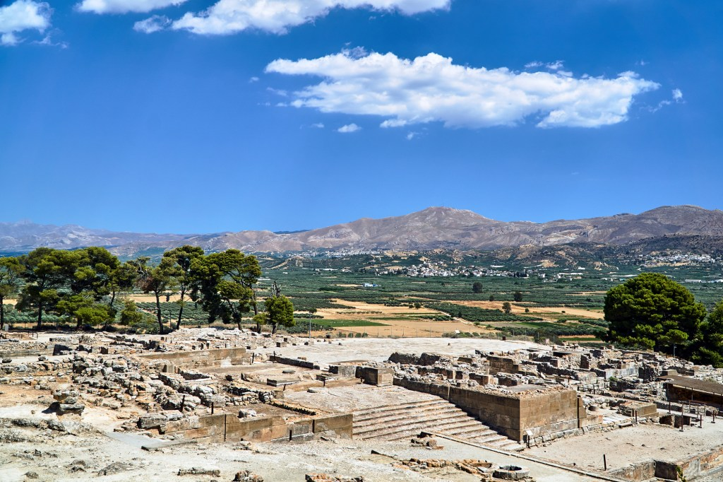 stone ruins of the Minoan Palace of Phaistos archaeological Site near Matala Caves Matala Village South Crete DP