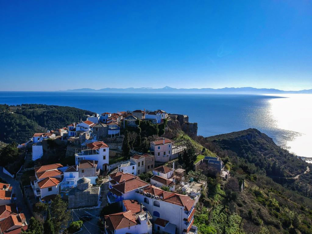 Aerial panoramic view over Chora the beautiful old Village of Alonnisos island, Alonissos DP-min