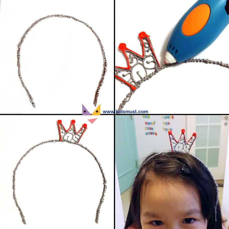 KidsMust姐姐測試員愛扮靚,便和KidsMust爸爸測試員一起設計皇冠頭飾