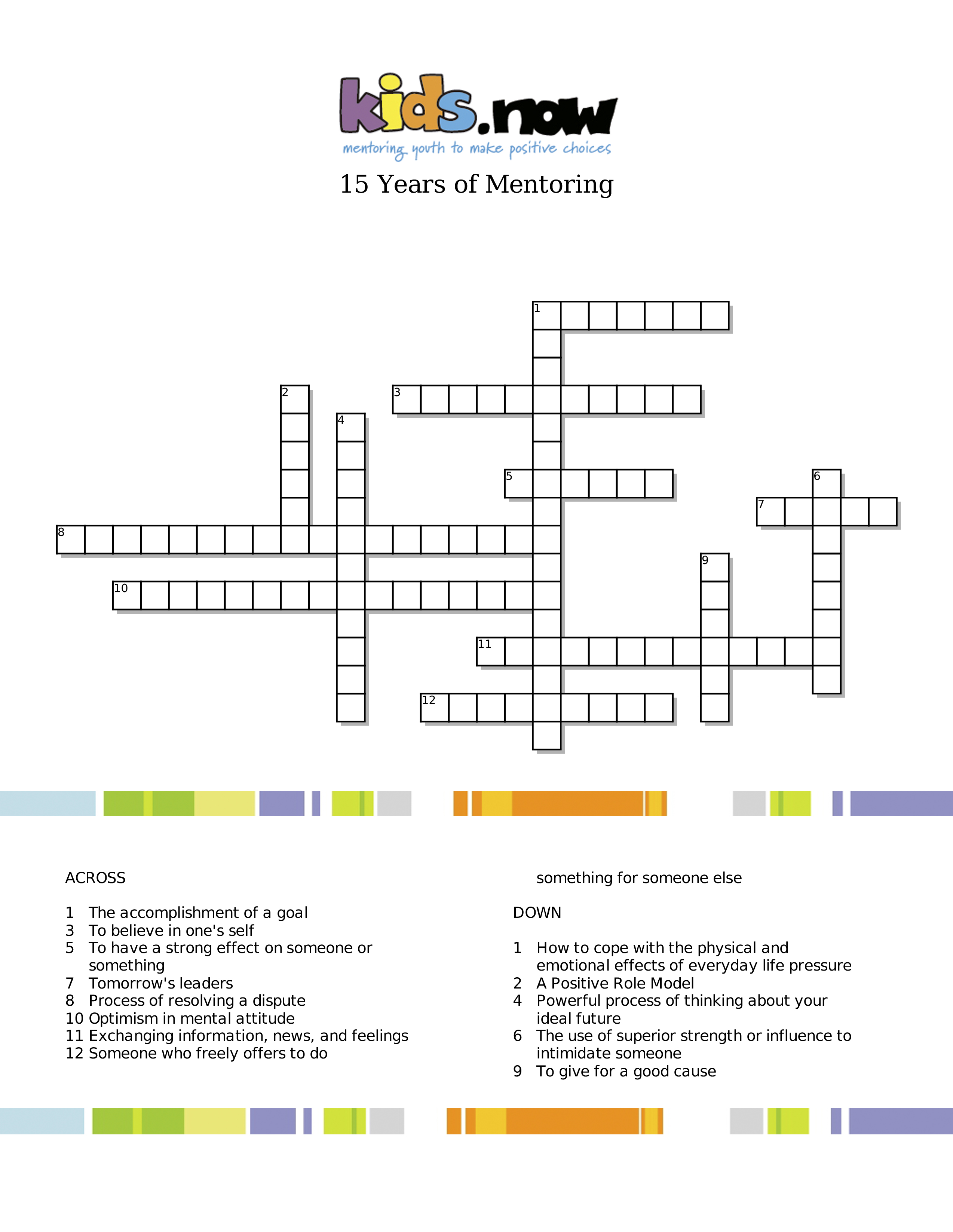 15 Years Of Mentoring Crossword Puzzle