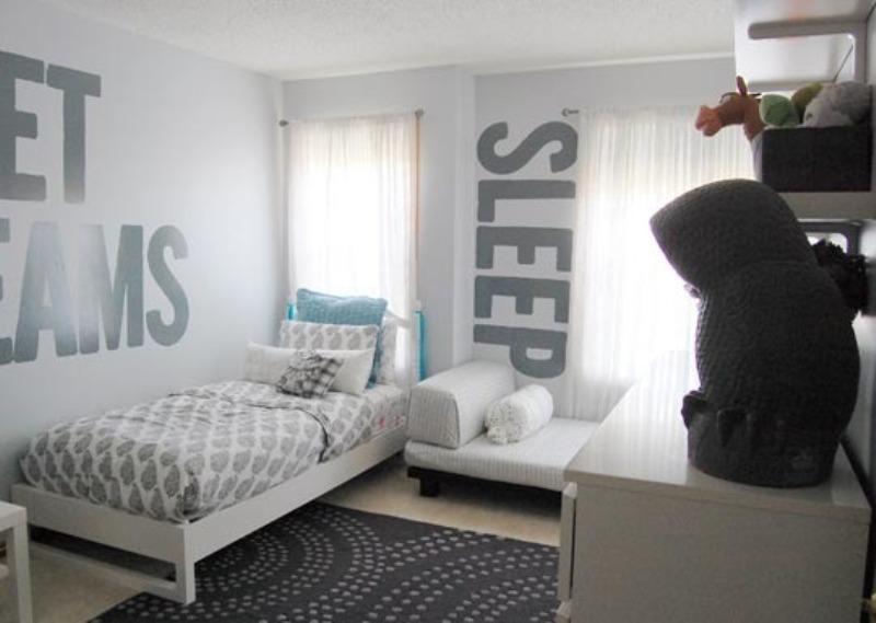 A Monochromatic Gray Shared Kids Room Design   Kidsomania on Teenage Grey Small Bedroom Ideas  id=11450