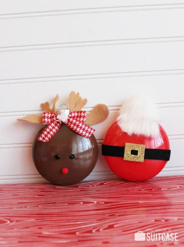 Cute DIY Rudolph And Santa Painted Ornaments Kidsomania