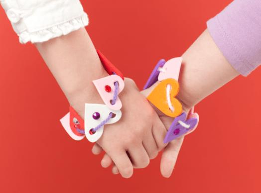 DIY Heart Shaped Kids Friendship Bracelets For Valentines