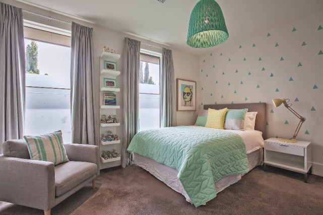 Fresh Mint And Grey Modern Big Girl's Bedroom | Kidsomania