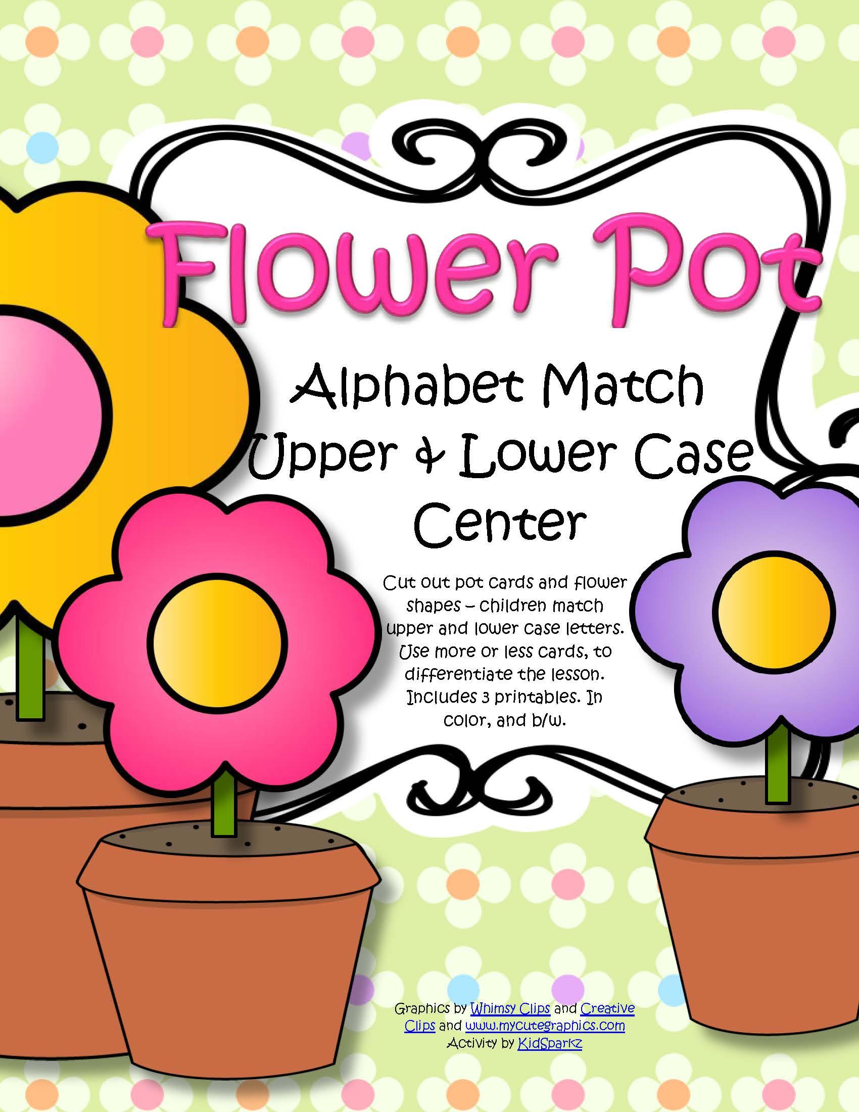 Spring Flowers Alphabet Letter Match Upper Lower Case Center