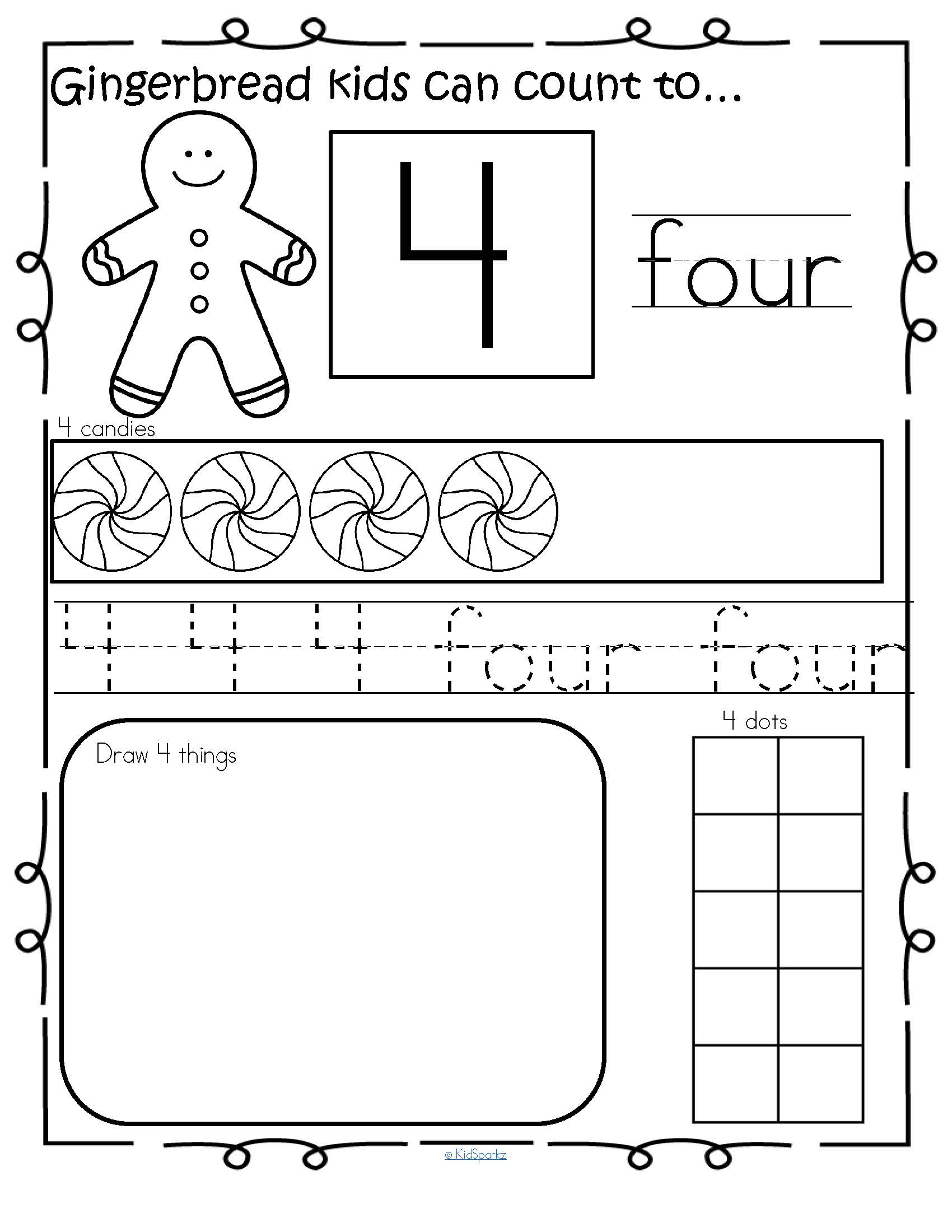 Gingerbread Number Practice Printables 1 20 No Prep
