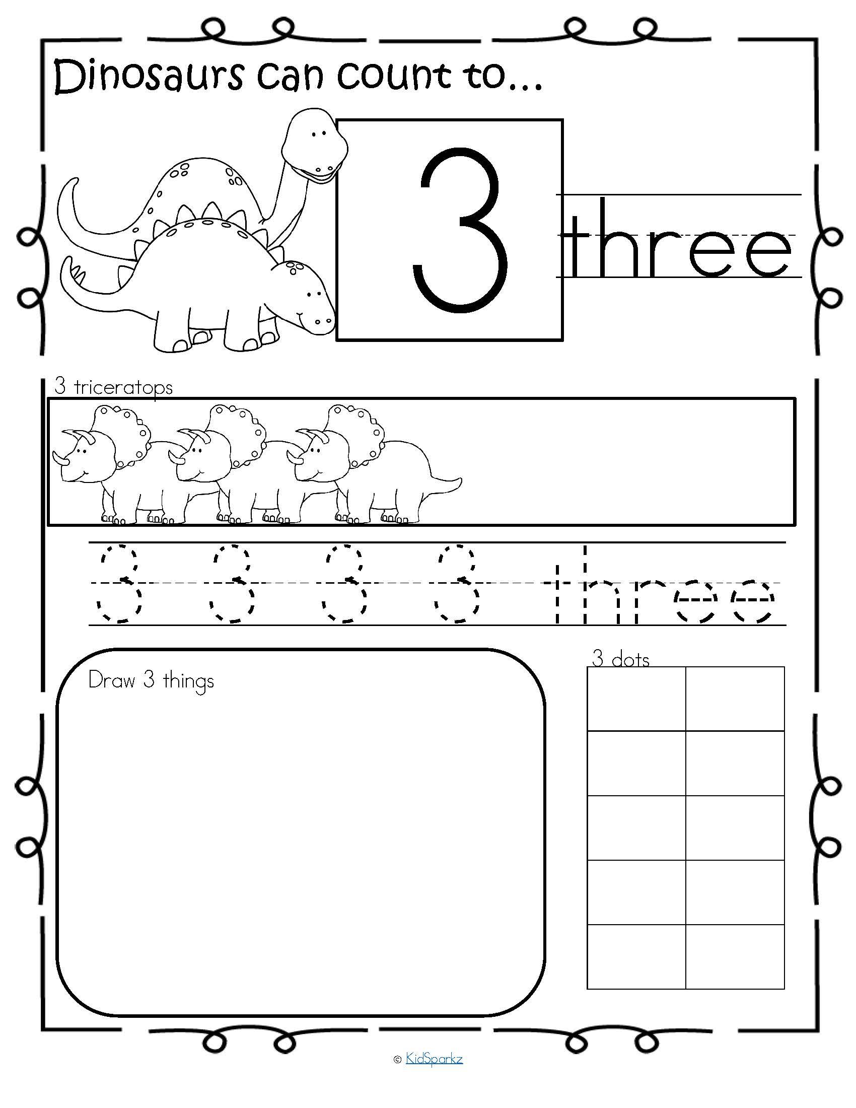 Dinosaurs Number Practice Printables