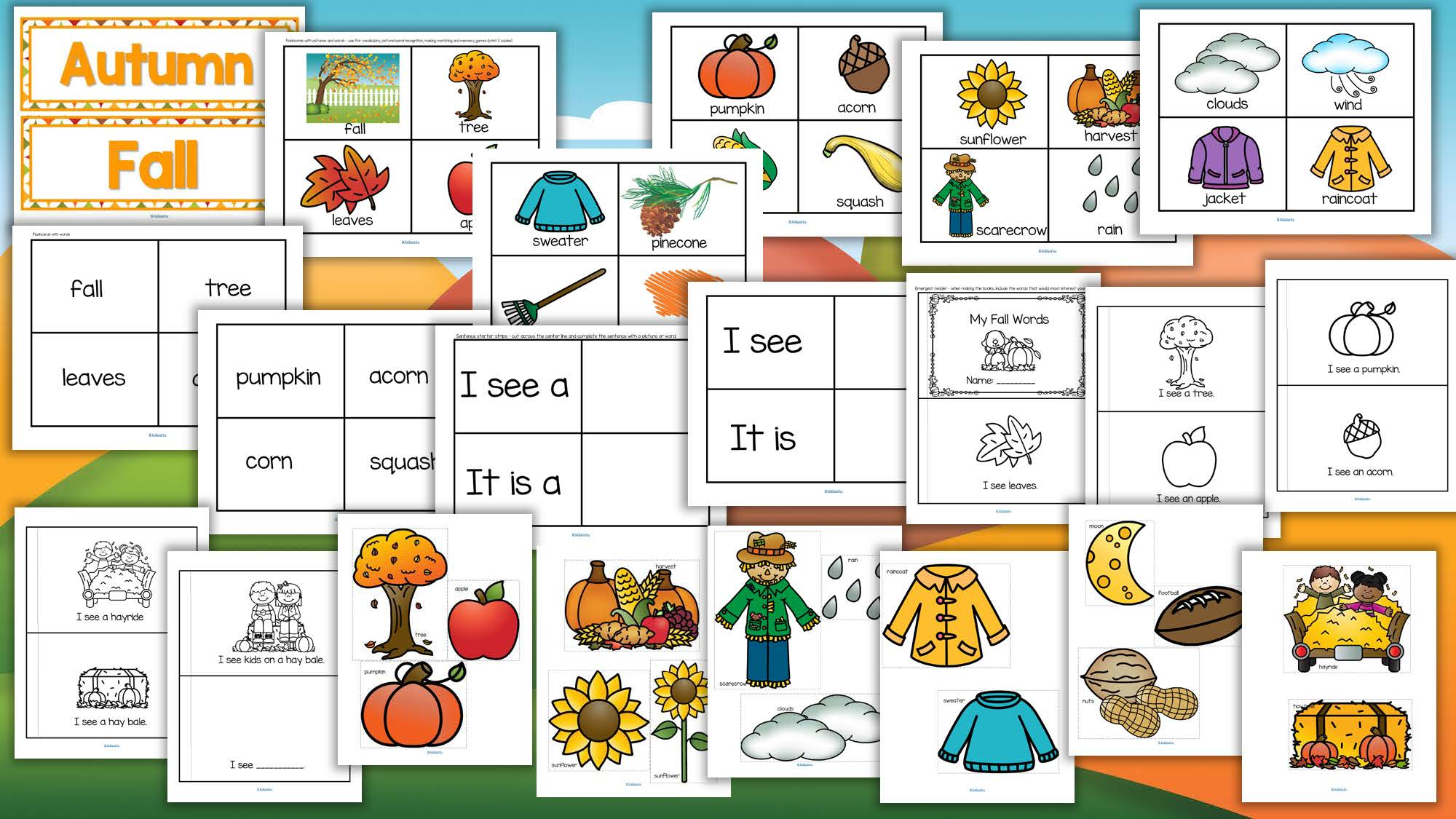 Fall Autumn Vocabulary Center Amp Group Activities For Preschool Amp Kindergarten