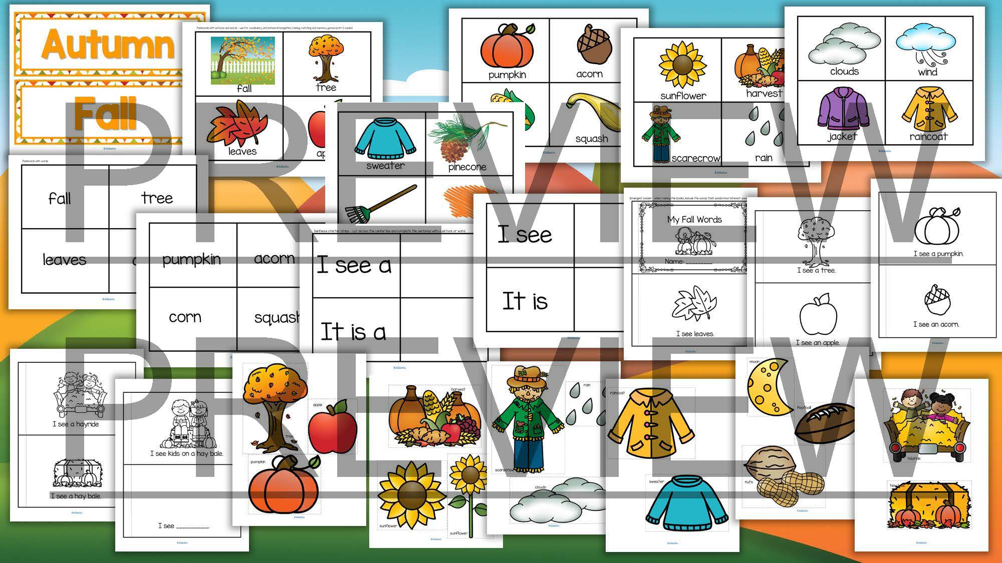 Fall Autumn Vocabulary Center Amp Group Activities For