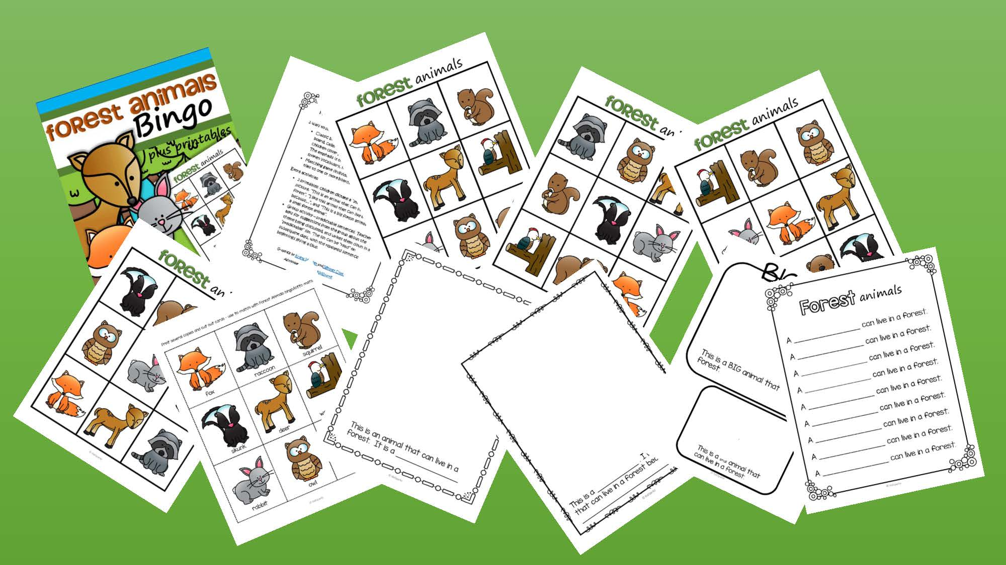 Forest Animals Bingo Plus Supporting Printables For