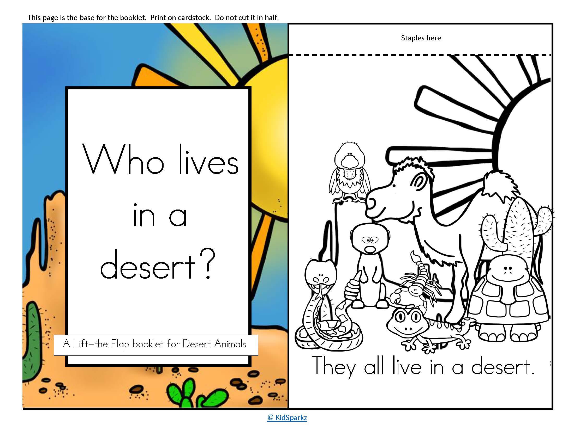 Desert Animals Informative Emergent Reader Flip Book