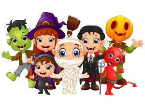 Cartoon drawings of children in Halloween costumes. Halloween facts for kids