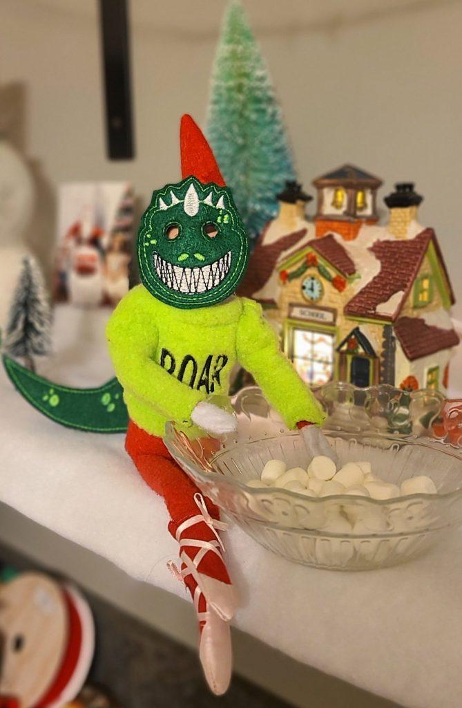 dinosaur elf on the shelf