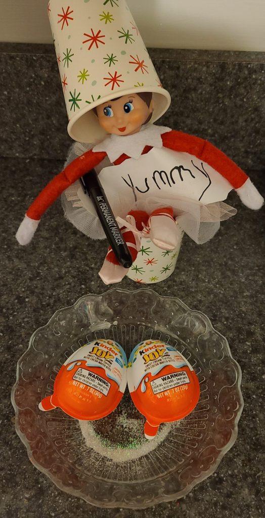 elf on the shelf with kinder joy eggs
