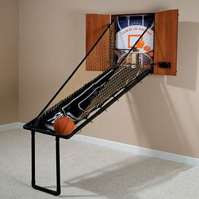 The Wall Mounted Fold Out Mahogany Basketball Game - Your Full Featured Basketball Amusement Game