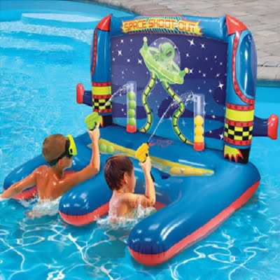 The Space Shoot-Out Inflatable Shooting Game - Your kids perfect floating shooting carnival game