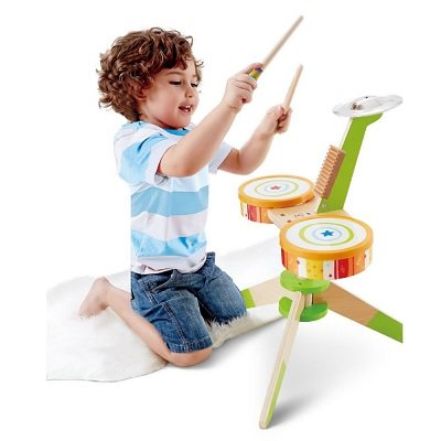 The Kids Wooden Drum Playset