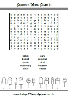 Summer Word Search - Kids Puzzles and Games
