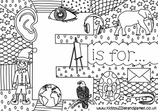 Letter E Colouring Sheets Kids Puzzles And Games