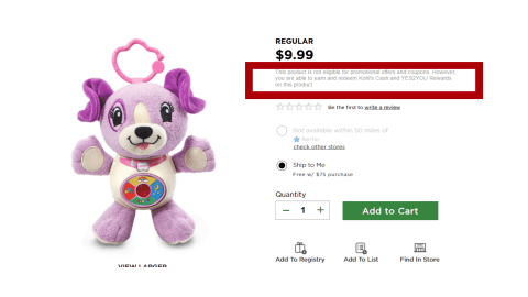 Kohl's Excludes Toys from Promo Codes