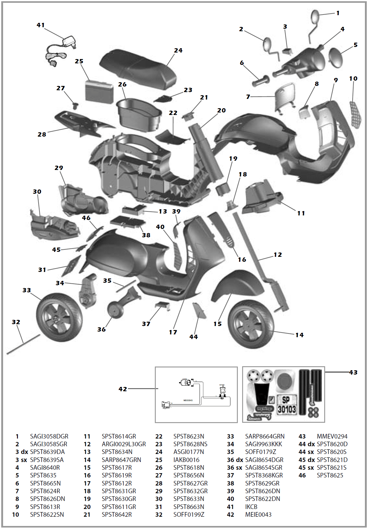 Vespa Scooter Iged Parts