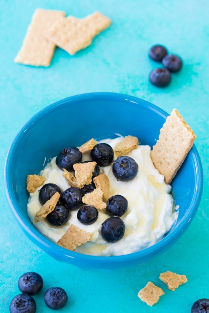 Greek yogurt bowl with blueberries and graham cracker.