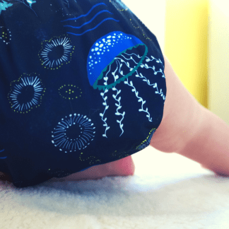 Baby in Reusable Cloth Pocket Nappy Jellyfish