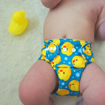 Baby in Reusable Cloth Pocket Nappy Rubber Duck