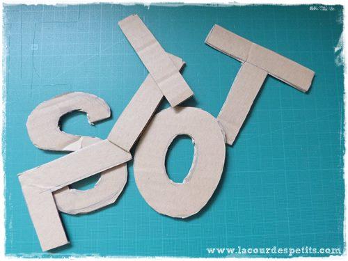 prenom en laine lettres en carton