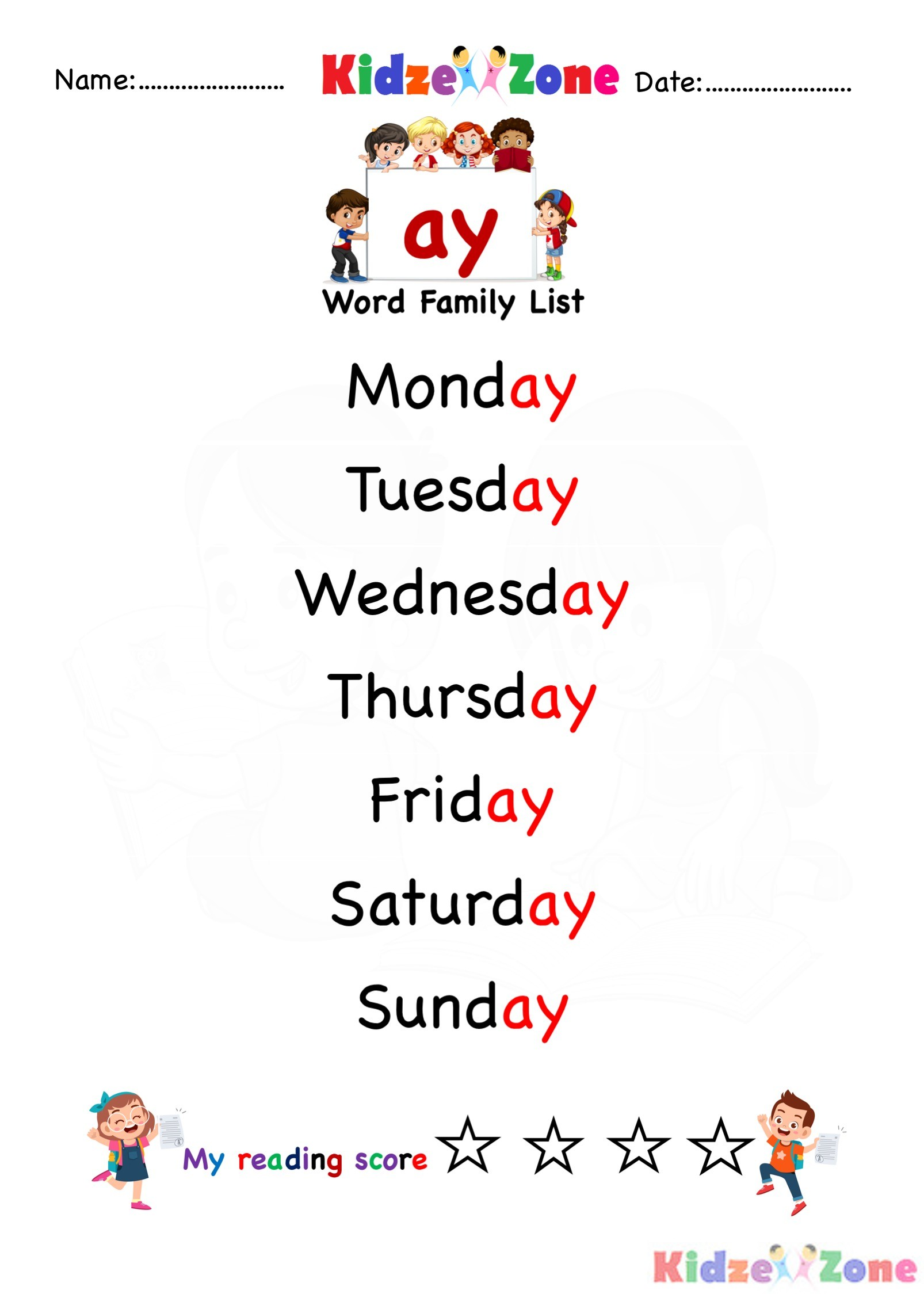 Explore And Learn Words From Ay Word Family For Days Of Week