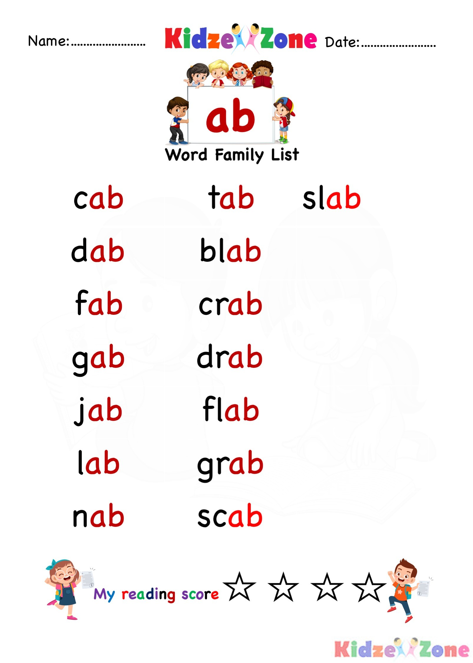 Ab Word Family Worksheet