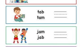 ab word family writing words worksheet