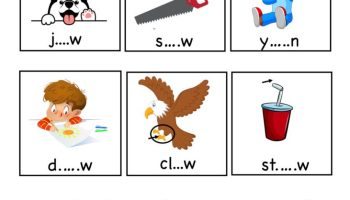 aw word family - fill the middle sound worksheet