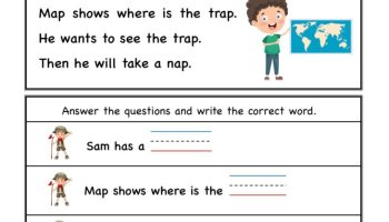 Kindergarten ap word family – Comprehension Worksheet