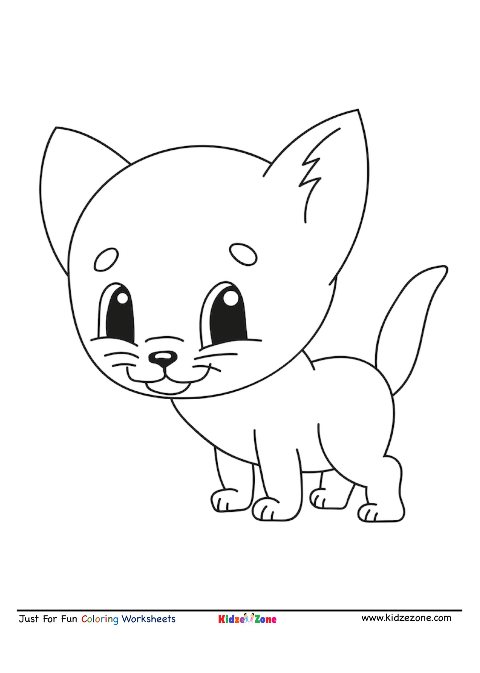 Cute Kitten Cartoon Coloring Page