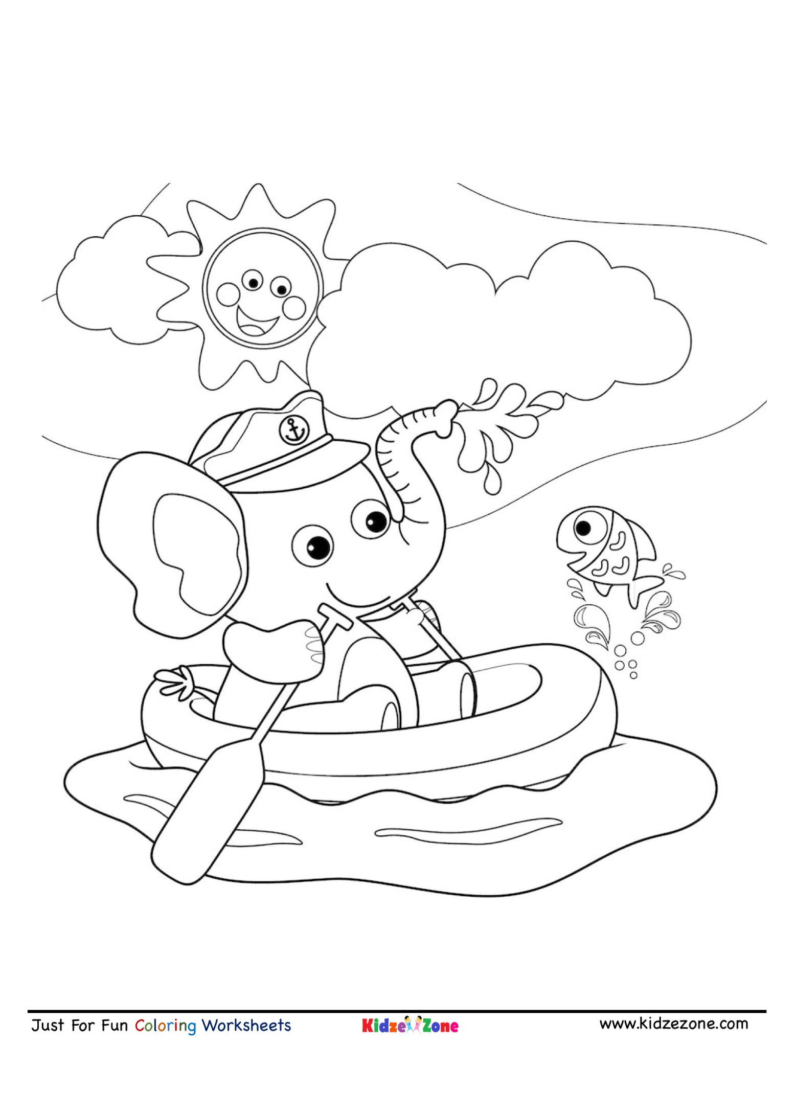 Elephant Boating Cartoon Coloring Page
