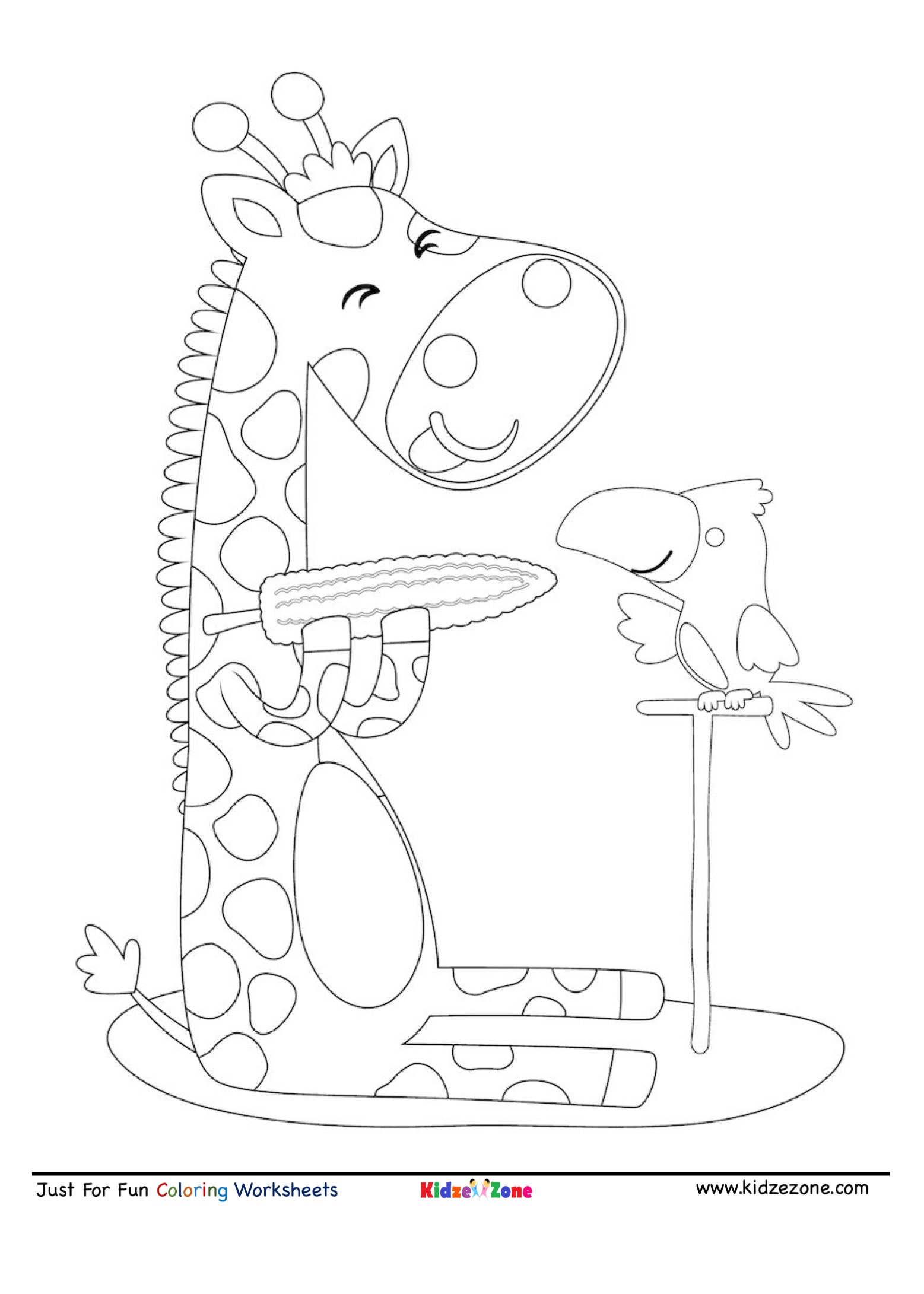 Giraffe Eating Corn Cartoon Coloring Page