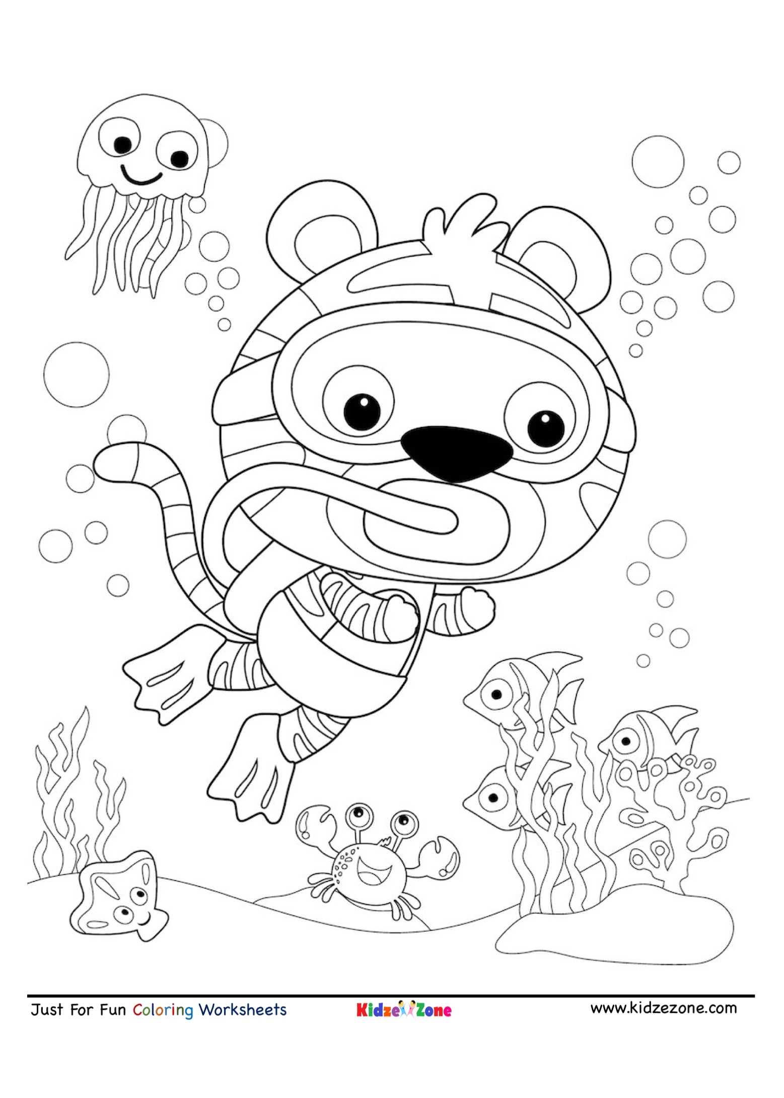Tiger Under Water Scuba Diving Coloring Page